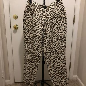 NWOT J CREW relaxed fit leopard print pants - 12T